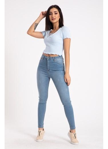Madame Sare  Kadın Mavi Yakasi Iplli Crop Bluz Mavi